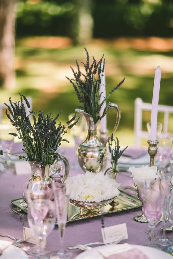 Rustic Lavender Centerpieces : Elegant rustic inspiration shoot with monsoon flower girl