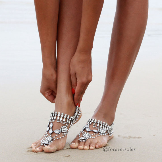 Barefoot wedding sandals for brides chic stylish weddings barefoot beach wedding sandals junglespirit Image collections
