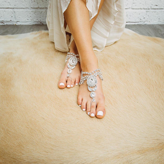 Barefoot wedding sandals for brides chic stylish weddings barefoot sandals wedding beach junglespirit Image collections