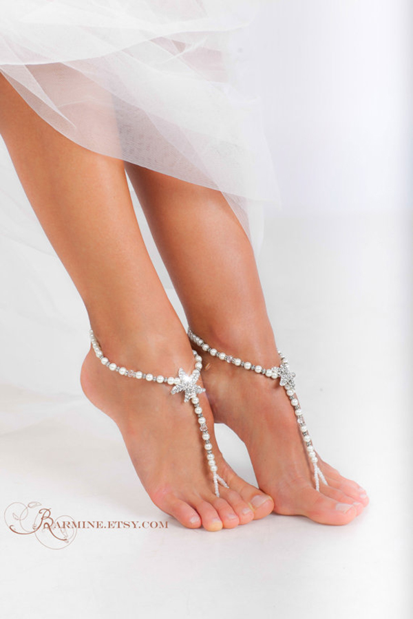 Barefoot wedding sandals for brides chic stylish weddings barefoot wedding shoes 11 junglespirit Images