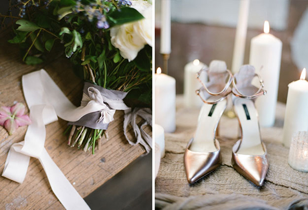 metallic-wedding-shoes-bridal-bouquet