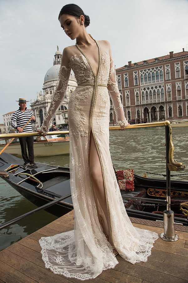 Plunging Neckline Wedding Gown Inbal Dror 3
