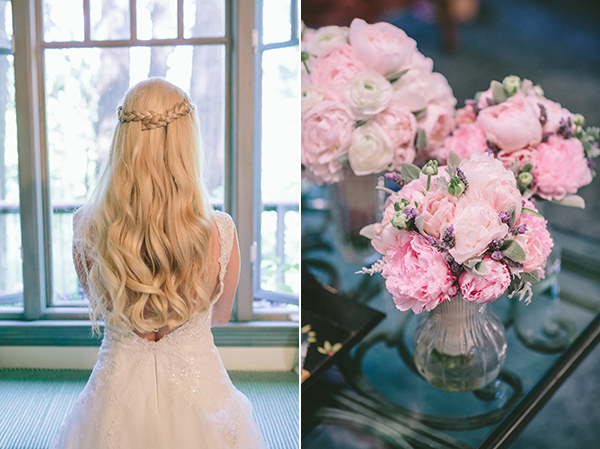 woodlands-wedding-pink-flowers-brides-hairstyle-long-hair