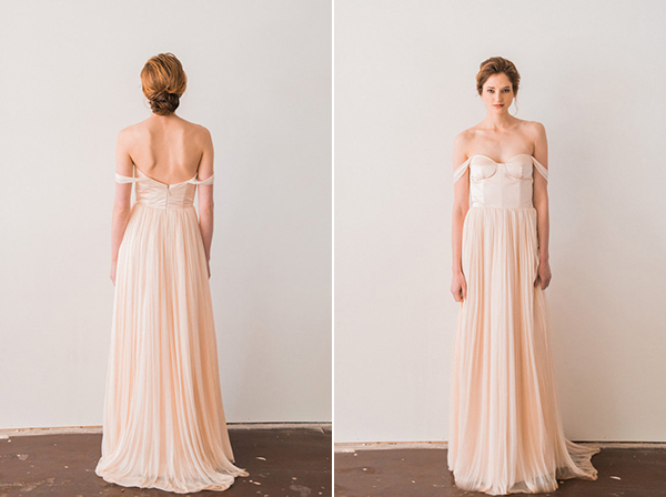 Blush-Pink-Off-The-Shoulder-Wedding-Dress-With-Silk Tulle-Skirt (2)