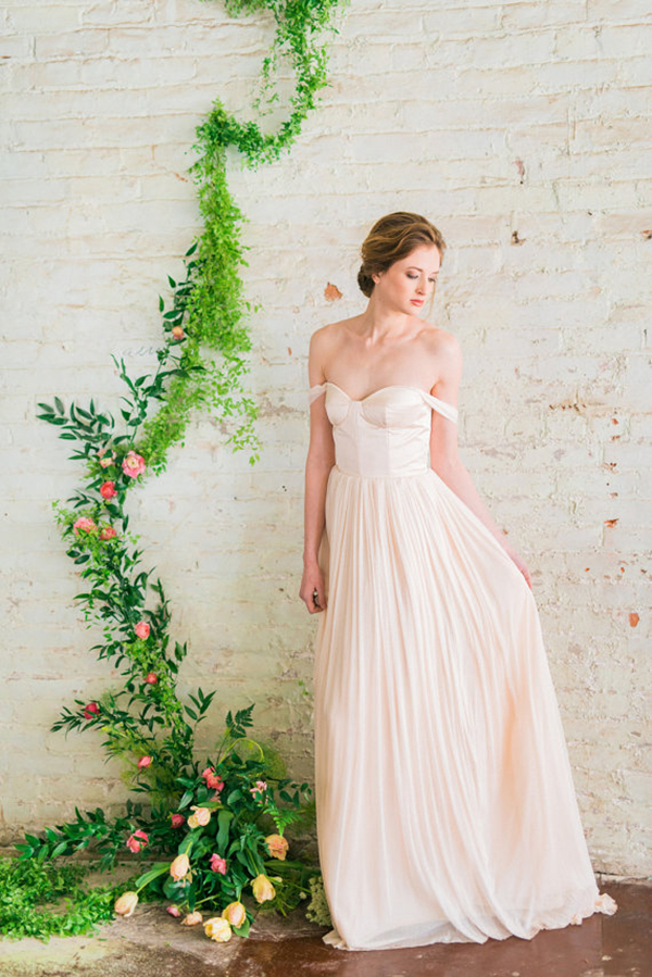 Blush-Pink-Off-The-Shoulder-Wedding-Dress-With-Silk Tulle-Skirt