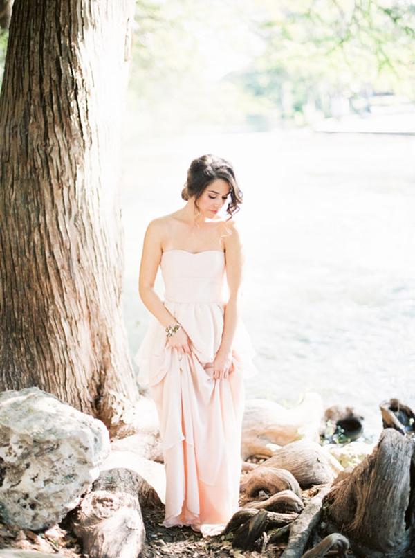 Blush-Strapless-Wedding-Dress in-Pink-Silk