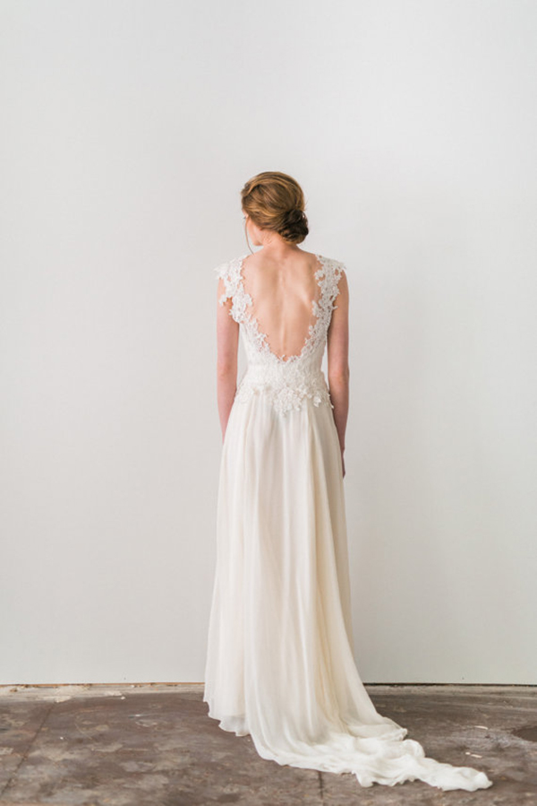 Ivory Lace And Silk Wedding Dress With Cap