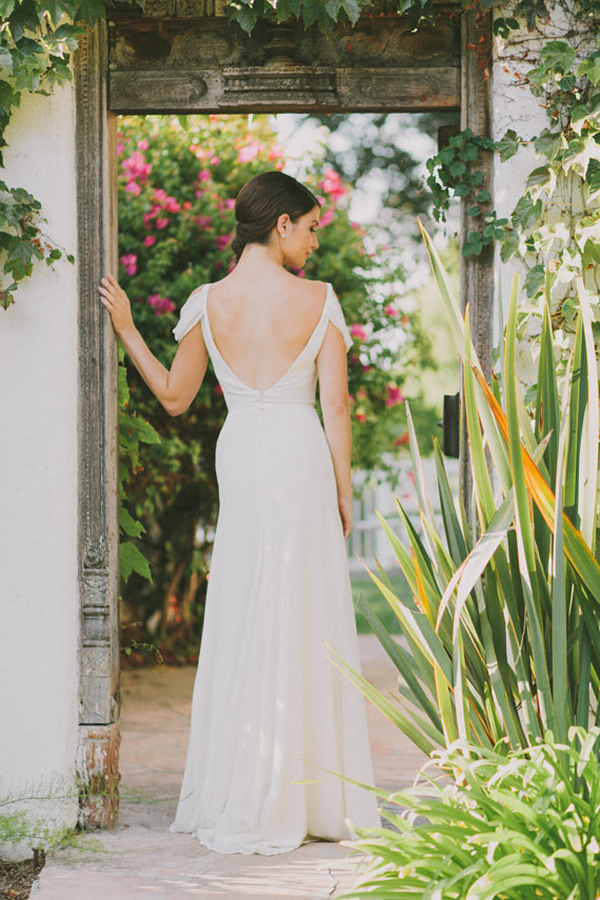 Ivory-Silk-Crepe-Draped-Sleeve-Wedding-Gown (2)