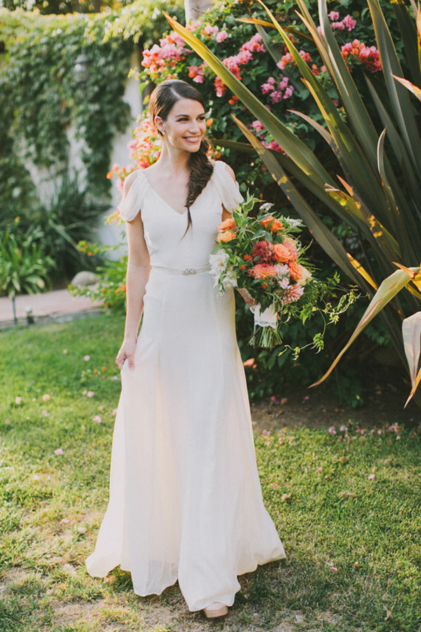 Ivory-Silk-Crepe-Draped-Sleeve-Wedding-Gown (3)