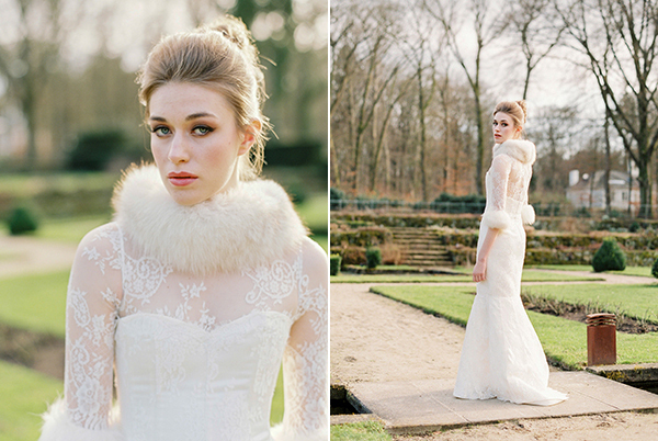 Elegant winter bridal shoot