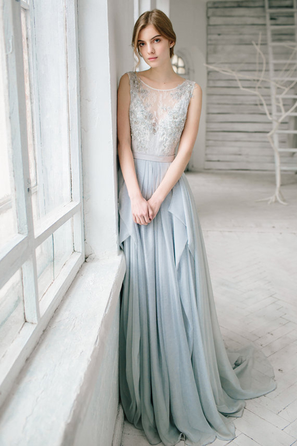 Gorgeous wedding dresses by ca 39 rousel bridal chic for Gray dresses for a wedding