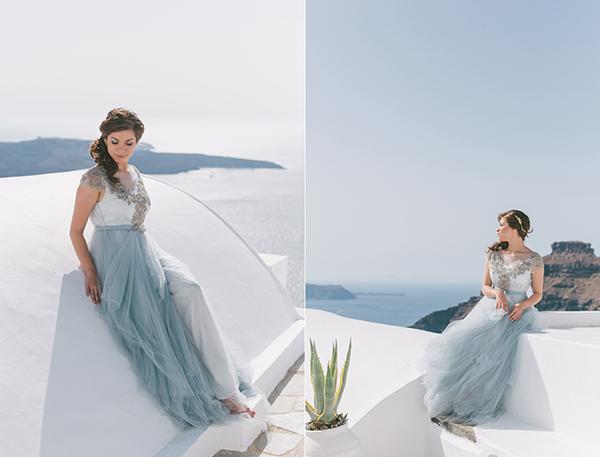 Intimate dusty blue wedding in Santorini - Chic & Stylish Weddings