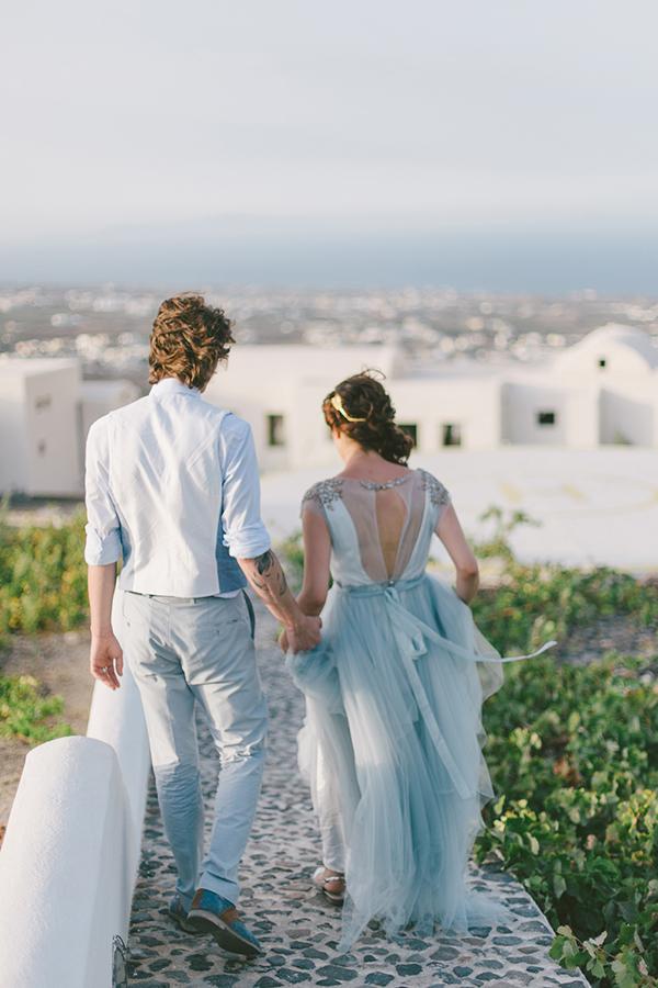 Intimate Dusty Blue Wedding In Santorini Chic Amp Stylish