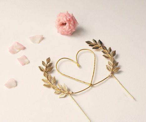 Gold Heart Wedding Cake Topper
