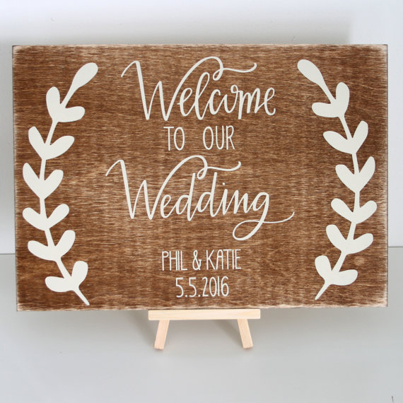 Personalised welcome to our wedding sign chic stylish weddings personalised welcome to our wedding sign junglespirit Image collections