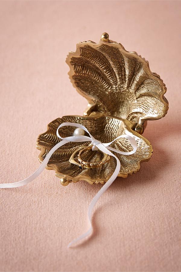 Gilded Seashell Ring Holder Chic Stylish Weddings