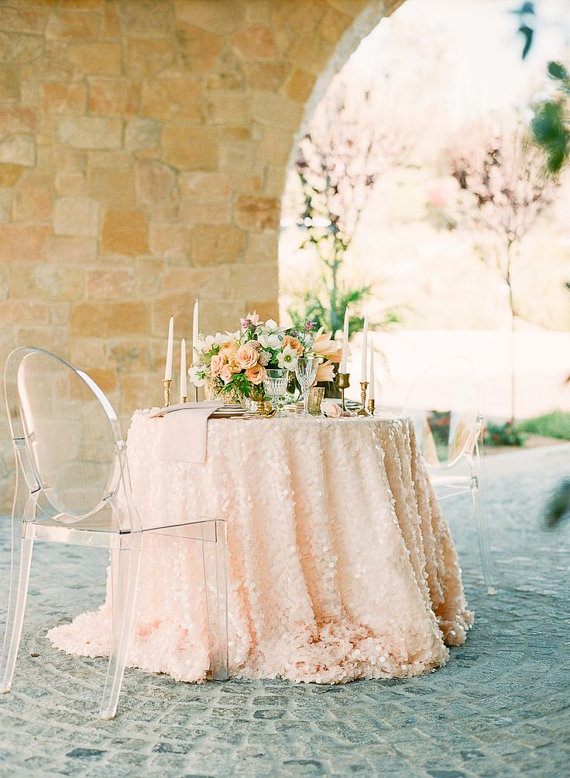 Peach Square Sequin Table Linens Chic Amp Stylish Weddings