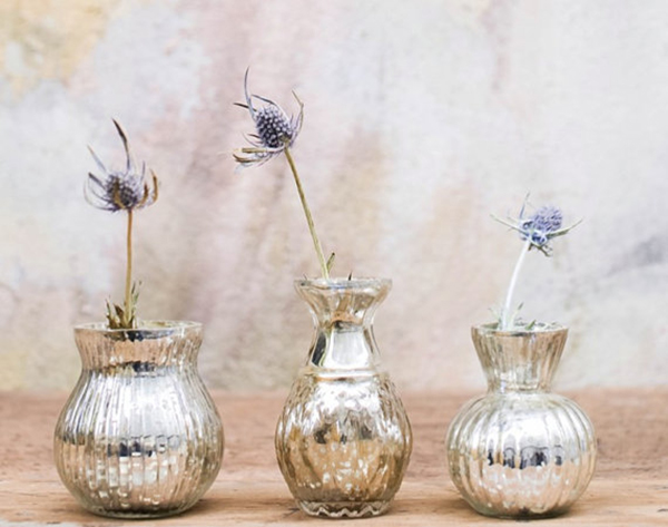 Silver Mercury Flower Vase Chic Stylish Weddings