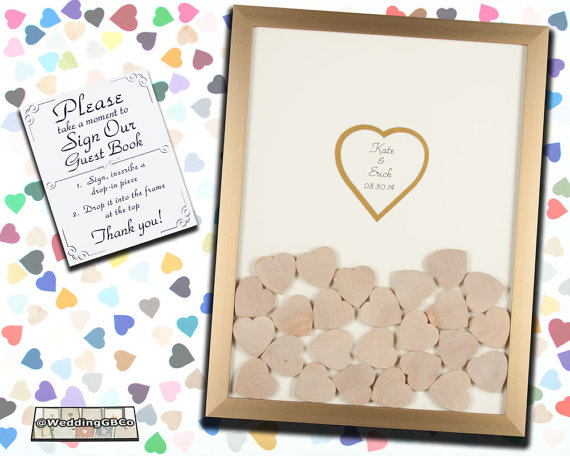 Wooden Drop In Hearts Guest Book - Chic & Stylish Weddings
