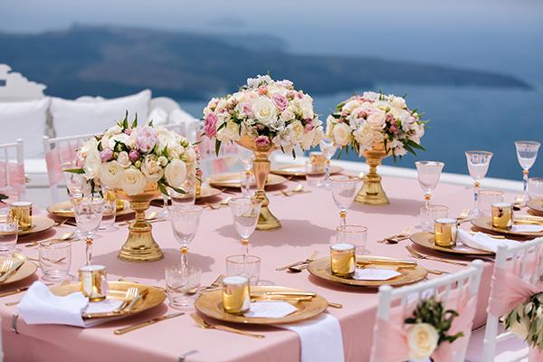 Romantic pink and gold wedding in Santorini - Chic & Stylish Weddings