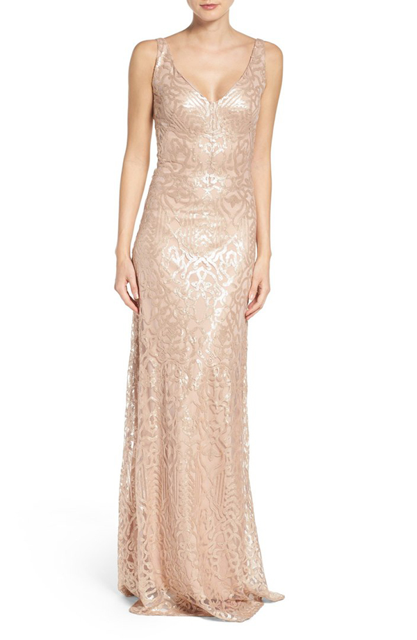 Sequin Embroidered A-Line Gown