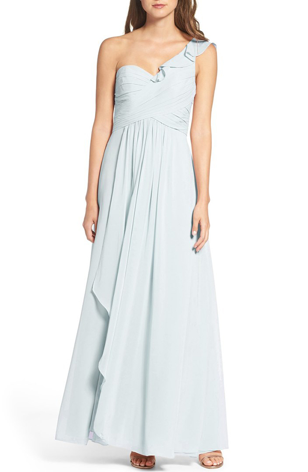 One-Shoulder Chiffon Dress