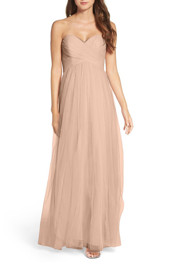 Convertible Strap Tulle Gown