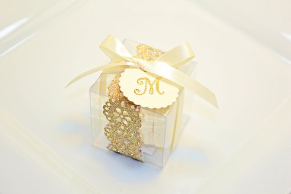 Gold box with macarons