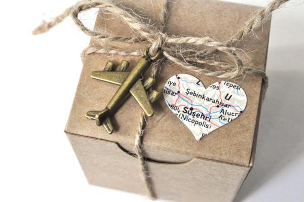 Travel theme wedding favor boxes
