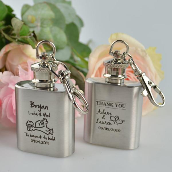 Engraved Mini Hip Flask Keyring