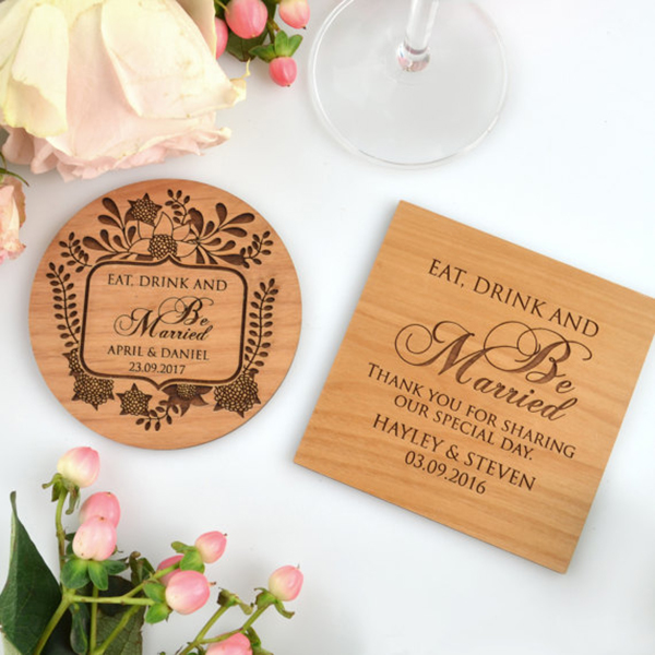 Engraved Wedding Wooden Coasters