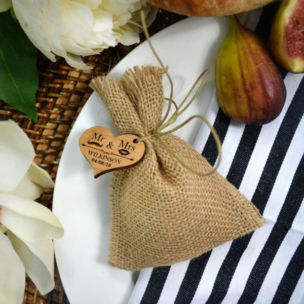 Hessian Bag with Wooden Gift Tag