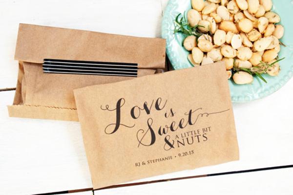 Love is nuts wedding favor bag