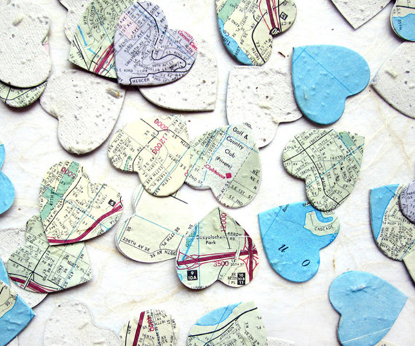 Map Paper Seed Hearts