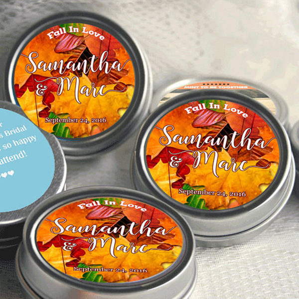 Personalized Autumn Silver Mint Tins