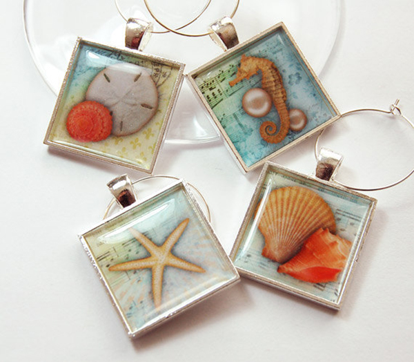 Sea Shell Wine Charm