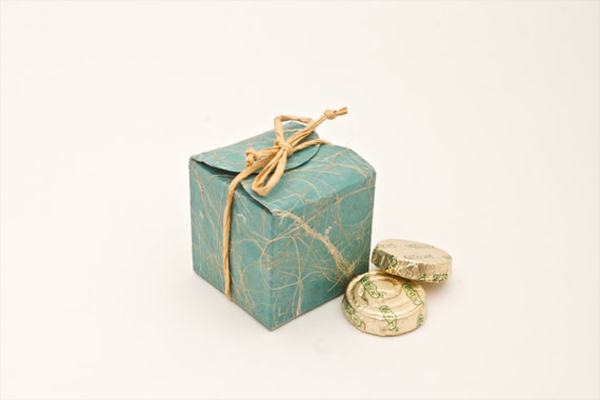 Teal cube wedding favor box