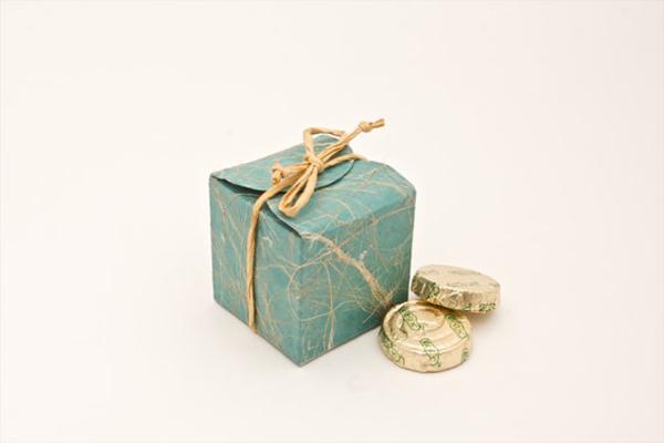 Teal cube wedding favor box