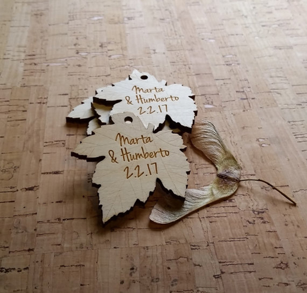 Wood engraved leaf shaped hang tags