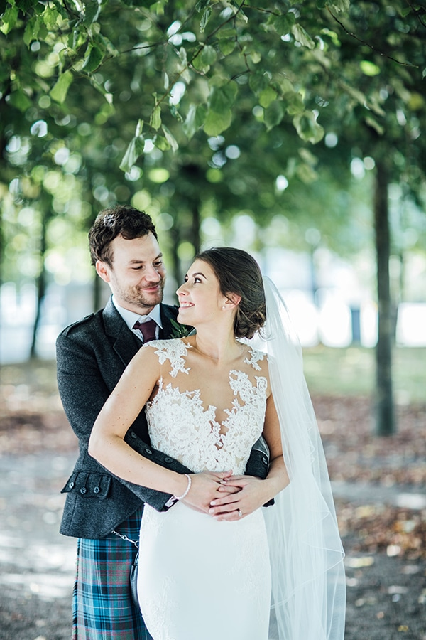 Traditional Scottish wedding with burgundy and blush colors ...