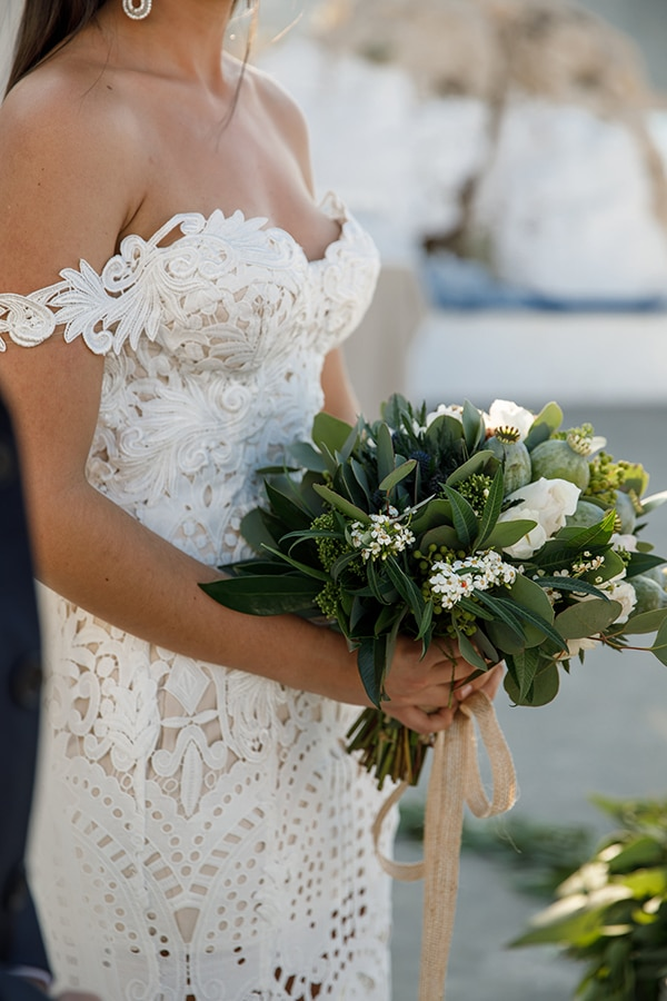 Traditional Greek wedding with green and beige hues