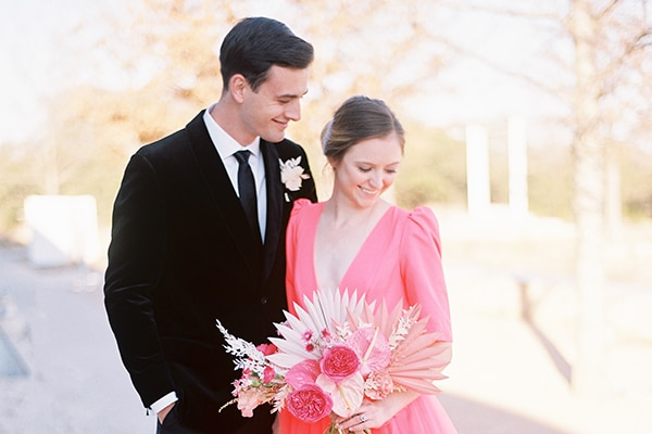 Modern styled shoot in coral and black tones